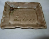 Vintage Souvenir Pinecone Dish Black Hills, South Dakota, Small Rectangular Dish for rings, earrings, ashtray, etc.