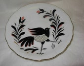 Vintage Folk Art Crow or Raven or Blackbird Hand Painted Plate for Wall Decor, Bird Collection