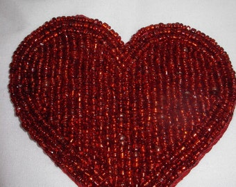 Lovely Beaded Deep Red Hearts, Set of 4, for Applique or Crafts or Valentines Day