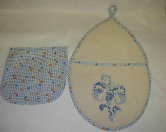 Vintage Kitchen Linens, Set of 2, Blue and Goldenrod Polka Dots on Blue and White Plaid, Hanging Embroidered Pocket with Matching Pocket or Pouch