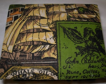 Early American Fabric Covered Box, Ships, Seaport, Imports, Tea, Whale Oil