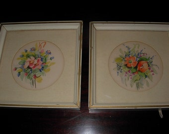Floral Watercolors Pair, Vintage, 1940's or 1950's, Framed and Matted, Unsigned
