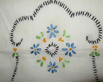 Vintage Uncut Embroidered Doilies for Home Accent, Blue Flowers with Black Trim
