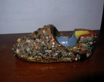 Vintage Stone Encrusted Ceramic Shoe Ashtray