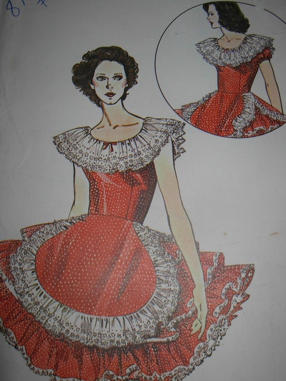 Vintage Unused Mega Ruffled Square Dance Dress Pattern, size 12-14-16,  from Authentic Patterns in Fort Worth, Texas