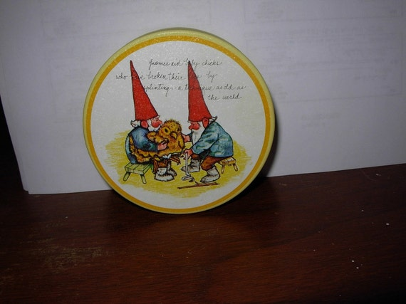 Gnomes Aiding Baby Chick Tin from Potpourri Press 1980