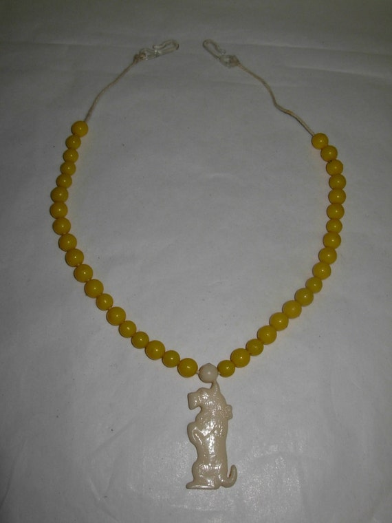 Reserved for KEELY BOOTH: Precious Young Child's Vintage Necklace Featuring a Dog and Yellow Plastic Beads