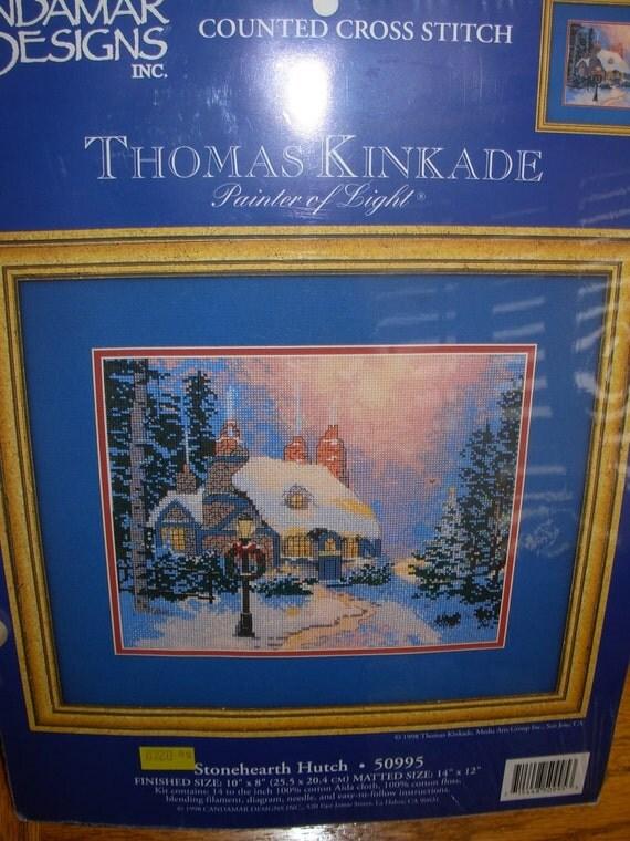 Thomas Kinkade Stonehearth Hutch Counted Cross Stitch Kit From