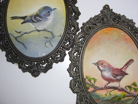 Two Darling Vintage Bird Paintings, with Matching Frames