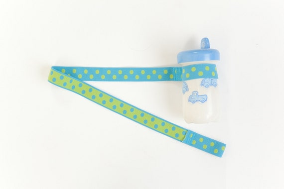 Custom Boutique (Turquoise and Lime Green) Sippy Cup Leash