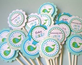 BABY WHALE Baby Shower Printable Cupcake Toppers- A Blissful Nest