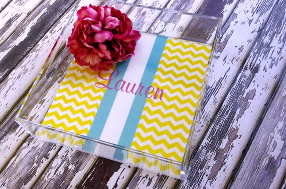 Lucite Tray - 12x12 Acrylic Tray - By A Blissful Nest - customize with pattern and colors