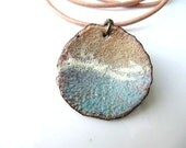 Enamel Jewelry, Enameled Copper Pendant, Copper Jewelry, sea breeze
