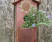 Birdhouse, Copper Wall Art, Metal Sun Garden