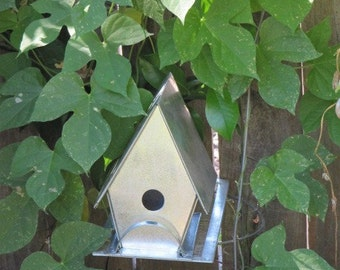 Handmade Galvanized Metal Birdhouse, Blank Slate for Decorating
