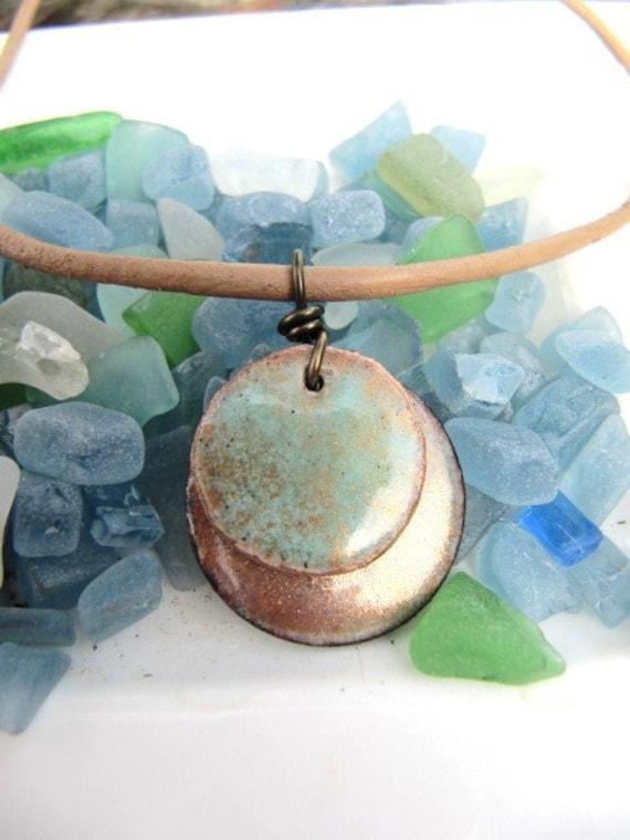 Enamel on Copper Pendant Necklace