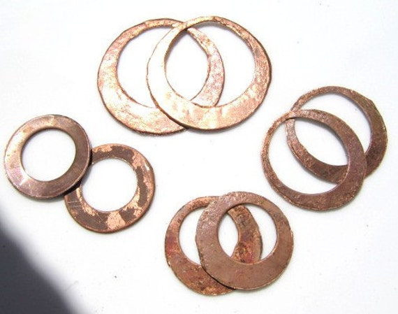 Raw Copper Earring Rounds, 8 pieces
