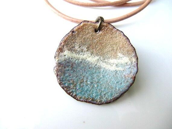 Enamel Jewelry, Enameled Copper Pendant, Copper Jewelry, sea breeze