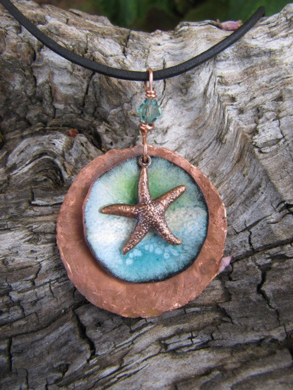 Enamel Jewelry, Copper Jewelry, Ocean, Stacked Circle Jewelry
