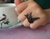 Vintage Black Dove Ring