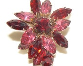 Vibrant Vintage Pink & Red Rhinestone Brooch Valentines Day Gift