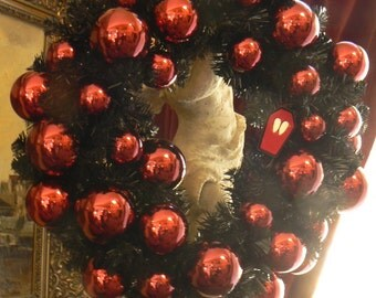 Gothic Holiday Wreath with Vampire Fangs and Blood Red Ornaments Spooky Decor