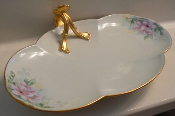 Antique Art Nouveau Limoges France Gold Gilt Handled Porcelain Dish Unique Wedding Gift