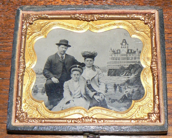 Victorian Vacation Family Portrait Sixth Plate Tintype Photo San Francisco The Cliffhouse