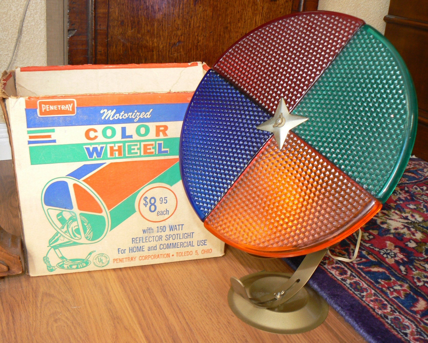 Vintage 50s 60s Penetray Motorized Color Wheel Light For