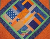 "Custom  ""Orange & Blue"" UF Florida Gator Baby Quilt Approx.40"" X 40"""