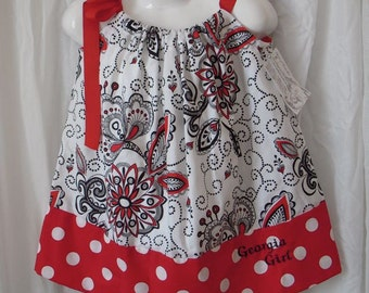 Custom Georgia Game Day Pillowcase Dress  Size 6-24 Months Up to a Girl's Size 5