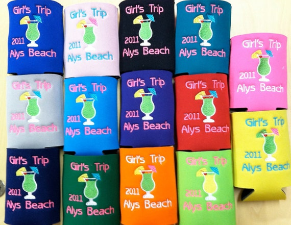Custom Embroidered Koozies Perfect for All Occasions (Set of 7)