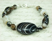 Brownie Swirl Bracelet- Black,Brown and White Cyclops and Agate