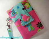 Hot Pink Electronic Gadget Case Wristlet for Cell Phones and Cameras