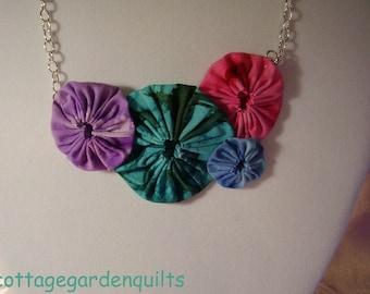 Batik Fabric Rosette  Yo Yo Bib Necklace Jewelry