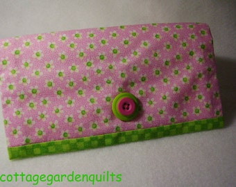 Pink Daisy Checkbook Cover Wallet