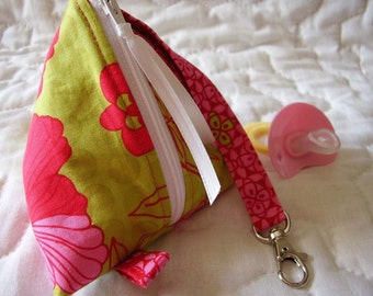 Green and Pink Design Baby Pacifier/Small Bag/ Zippered/Triangle/Pyramid/ Pouch/ Phone Pod/Purse/Coin Purse/Gift Bag/ Wristlet