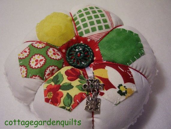 Green/Yellow/Red  English Paper Pieced  Pincushion with Charm
