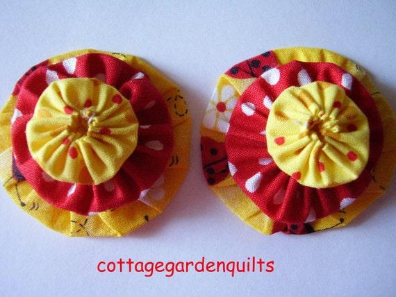 6  Yo Yo  Yellow and Red Lady Bug  Fabric Quilt  Block Trim Embellishment Hair Barrette Kit