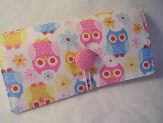 Hoot Owl  Checkbook Cover , Vinyl Insert, Coupon, Wallet, Organizer Case