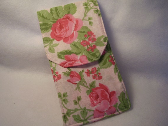 Pink Rose Knitting Needle Case Circular - Double Needle Case - Croceht Hook