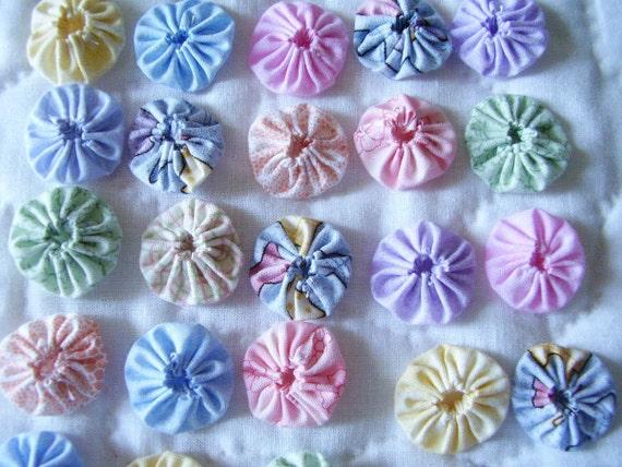30 Pastel 1 inch Yo Yo Miniature Fabric Quilt  Block Trim Embellishment