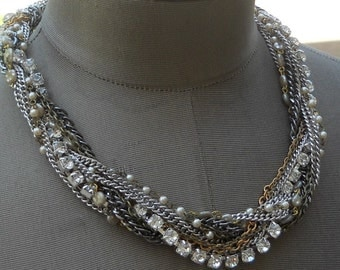 Twisted Rhinestone Chains Necklace - Pedal To The Metal Necklace