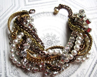 Mixed Metal, Copper and Crystal Rhinestone & Pearl Gold Chunky Cuff Bracelet Twisted Bridal Cuff - Twisted Sista