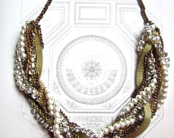 Chunky Mixed Metal Necklace Rhinestone Pearl, Copper, Gold Gunmetal Bridal Necklace Vintage Wedding - Twisted SIsta