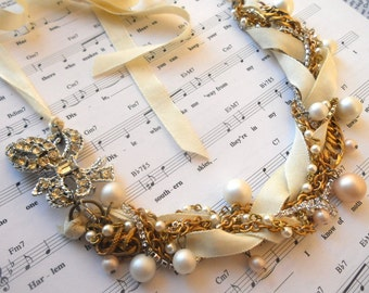 Bridal Pearl Statement Necklace Vintage Brooch Rhinestone Ivory Ribbon & Gold Twisted Necklace Hollywood Regency - Tie Me Down Necklace