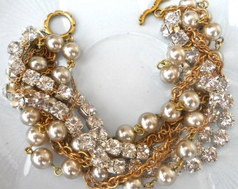 Rhinestone Pearl Chunky Bridesmaid Bracelet in Gold Crystal Bridal Jewelry Multi Strand Twisted Pearl & Gold - Life of the Party Bracelet