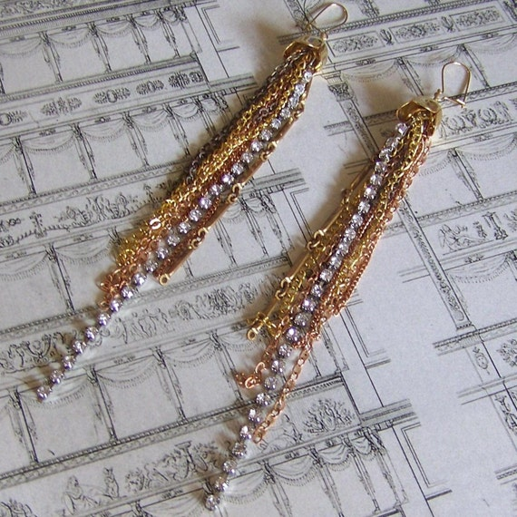 Long Gold Layered Chains Rhinestone Earrings - Glammy Sparkleson Earrings