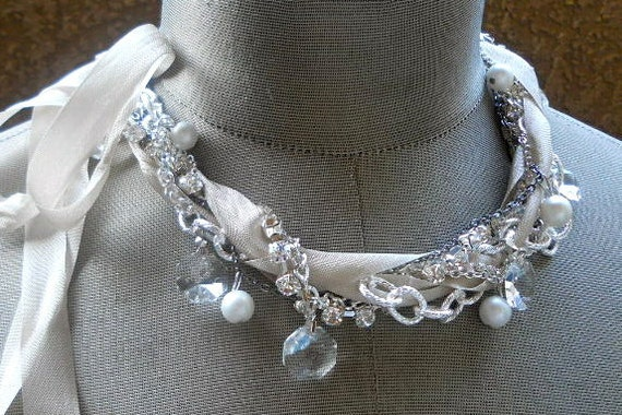 Crystal Ribbon Pearl Rhinestone Bridal Necklace - Silver Sun Twisted Necklace