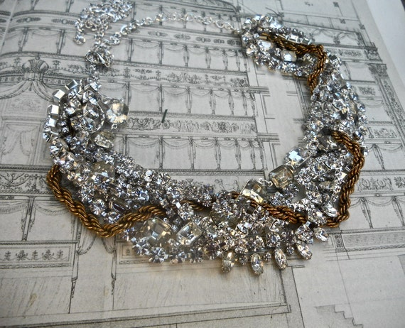 Vintage Rhinestone Statement Necklace Vintage Wedding Necklace Bridal Statement With Chunky Gold Chain